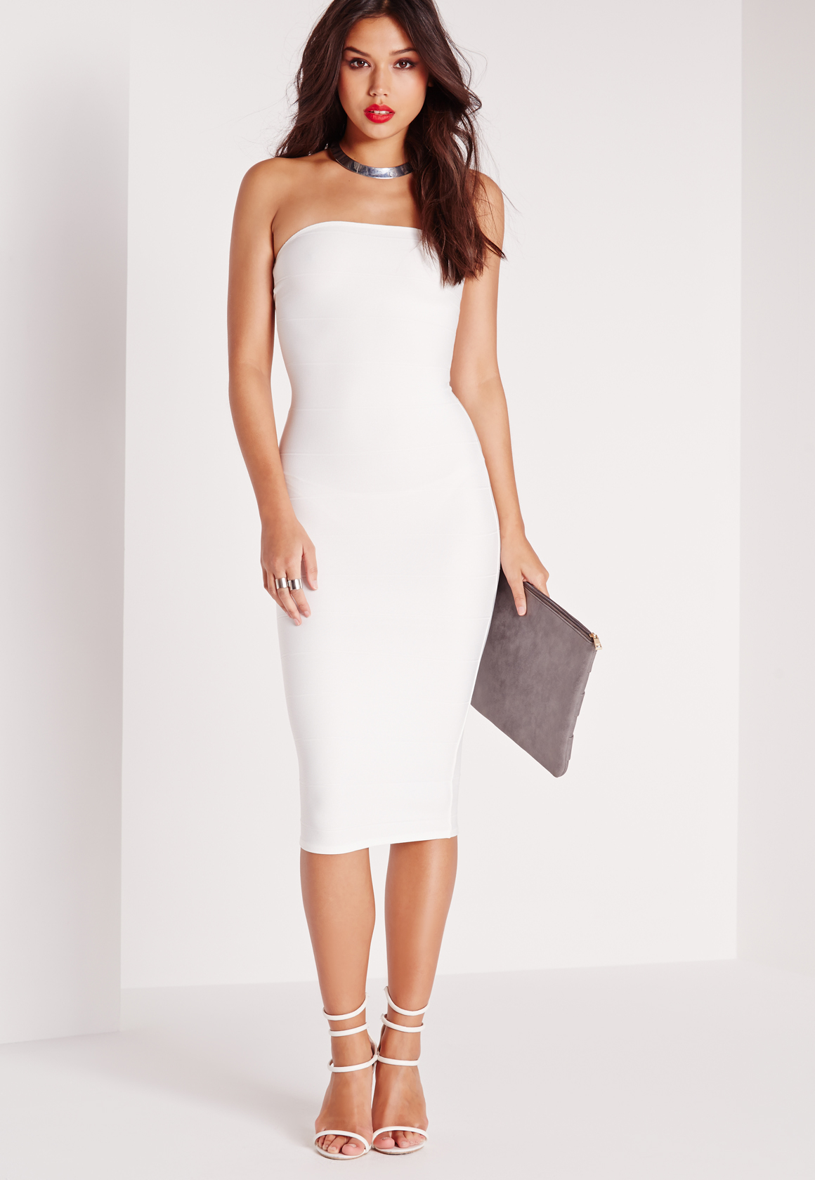 Missguided Strapless Bandage Bodycon Midi Dress White in White | Lyst