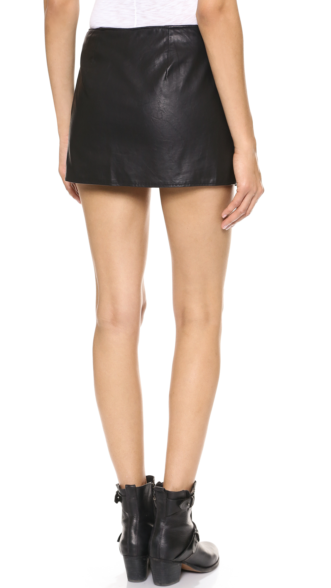 Free people Faux Leather Mini Skirt in Black | Lyst