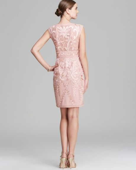 Sue Wong Dress Cap Sleeve V Neck In Pink (Rose)