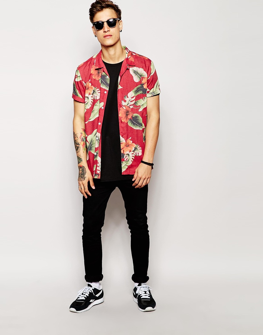 559616206ef Lyst - ASOS Viscose Shirt In Short Sleeve With Hibiscus Floral Print ...