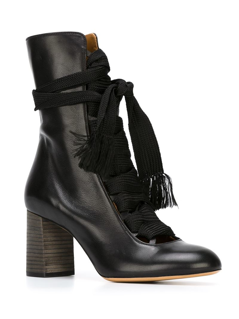 chlo chunky lace up boots in black lyst. Black Bedroom Furniture Sets. Home Design Ideas