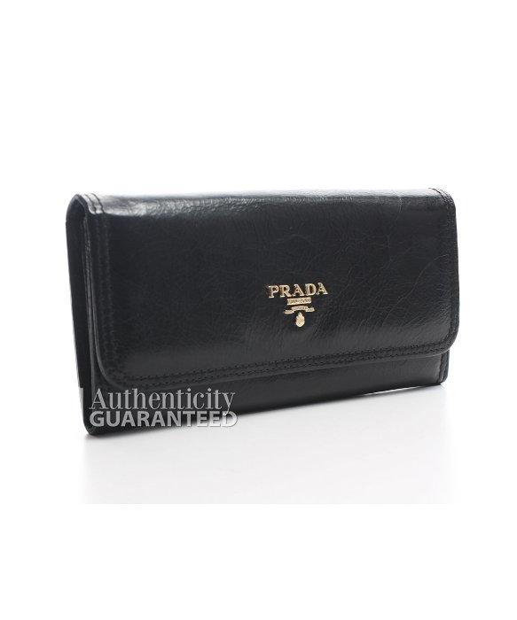 Prada Pre-owned Black Crinkled Leather Long Wallet in Black | Lyst