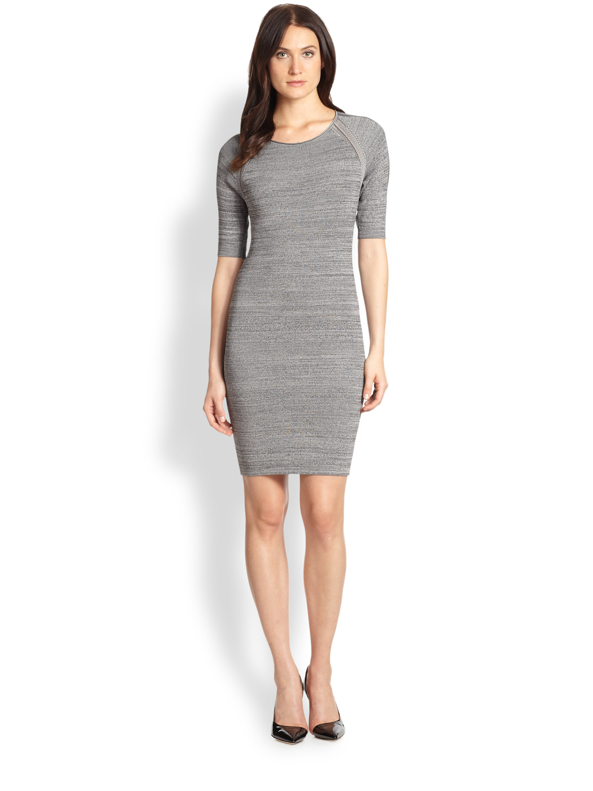Halston Fitted Sweater Dress in Gray   Lyst