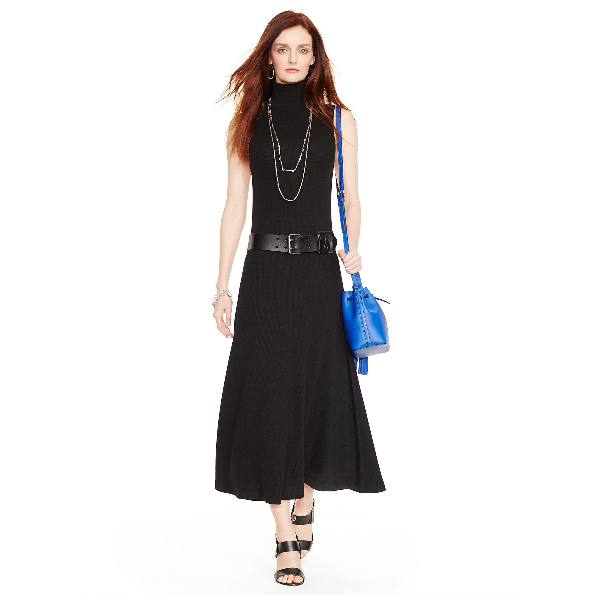 2007bcfc614283 Lyst - Polo Ralph Lauren Waffle-knit Turtleneck Dress in Black