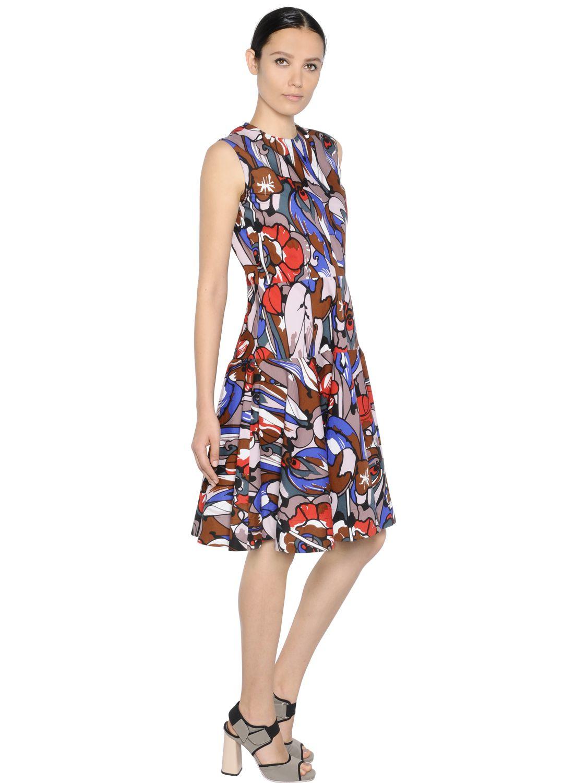 Marni Floral Printed Cotton Poplin Dress Lyst