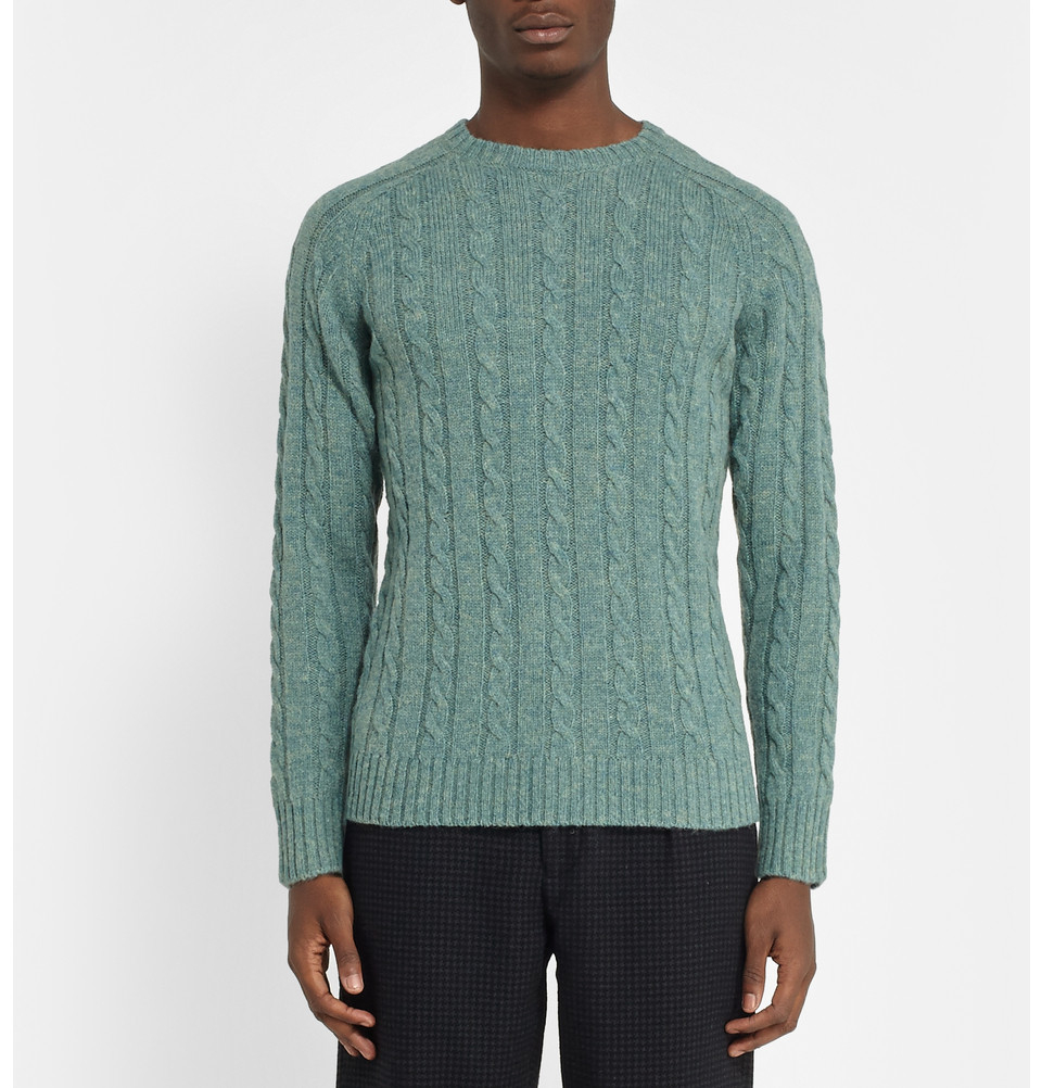 Beams plus Cable-Knit Wool Sweater in Blue for Men | Lyst