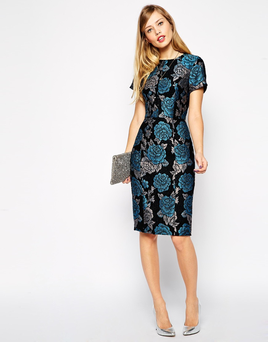 ASOS Premium Pencil Dress In Floral Jacquard - Lyst