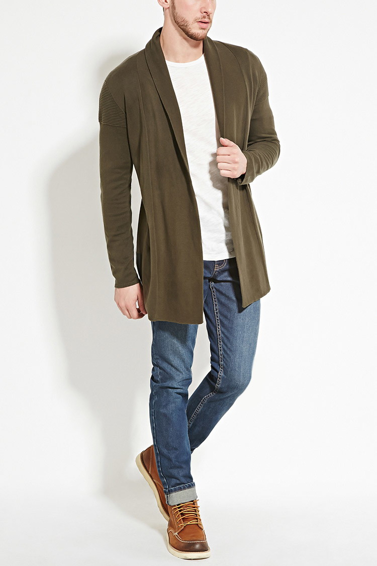 Forever 21 Zipped Open-front Cardigan in Green for Men | Lyst