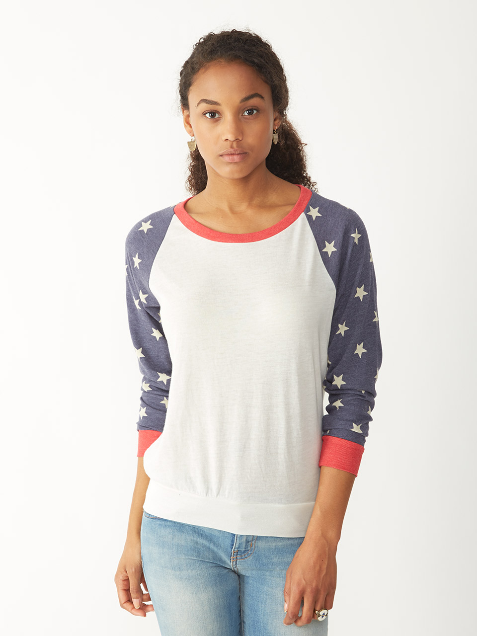 alternative apparel slouchy eco jersey printed pullover in