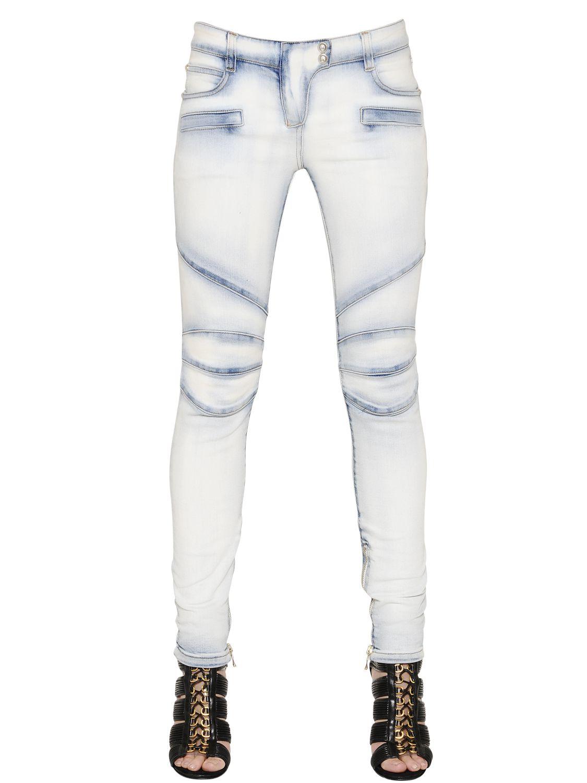 balmain washed stretch cotton denim jeans in blue for men light blue save 31 lyst. Black Bedroom Furniture Sets. Home Design Ideas