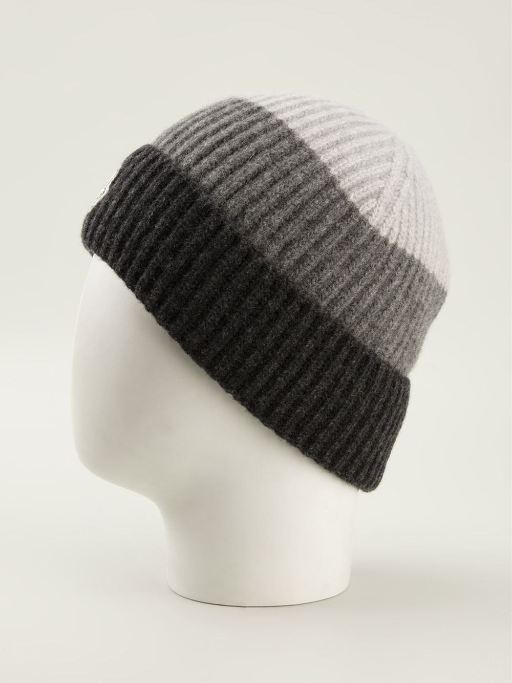 1b0f2b20f13 Lyst - Moncler Striped Beanie Hat in Black for Men