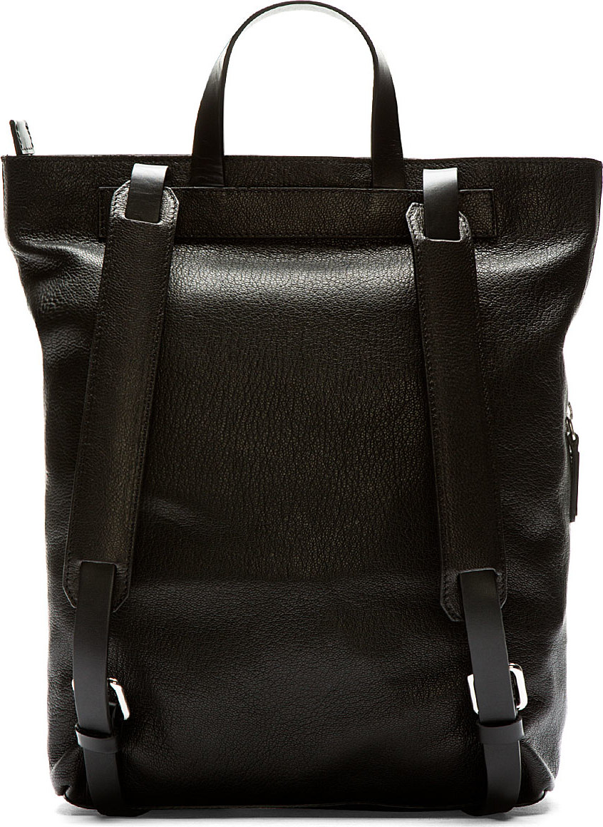Costume national Black Leather Tote Backpack in Black for Men | Lyst