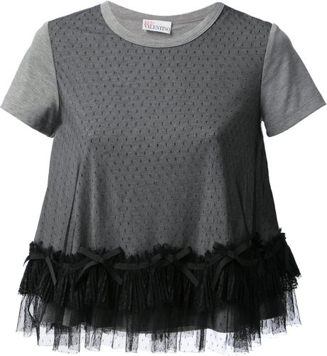 Red valentino tulle detailed t shirt in gray grey lyst for Red valentino t shirt