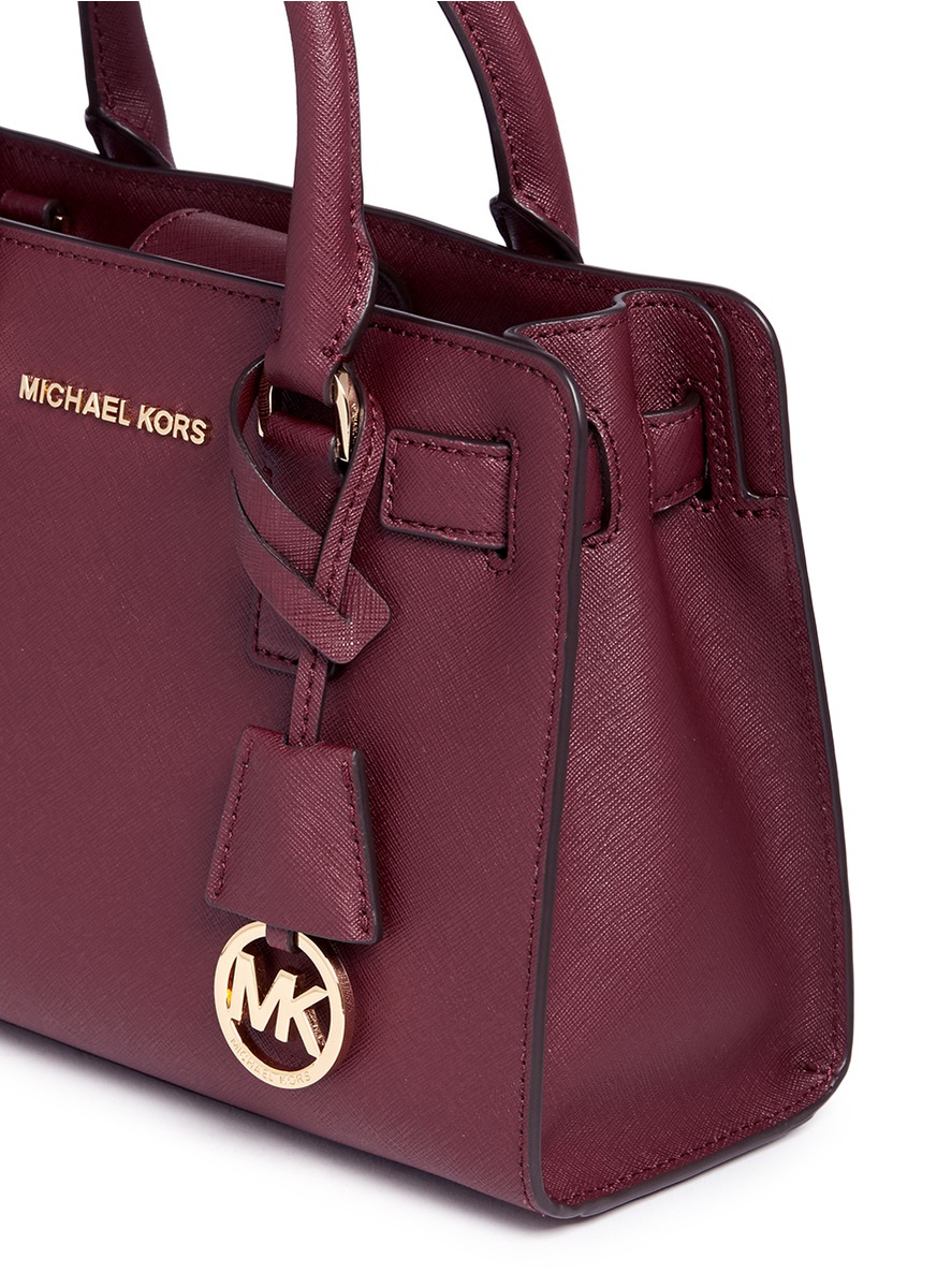 a907c62a5a2bc3 ... new style lyst michael kors dillon small saffiano leather satchel in  brown 73366 dd522