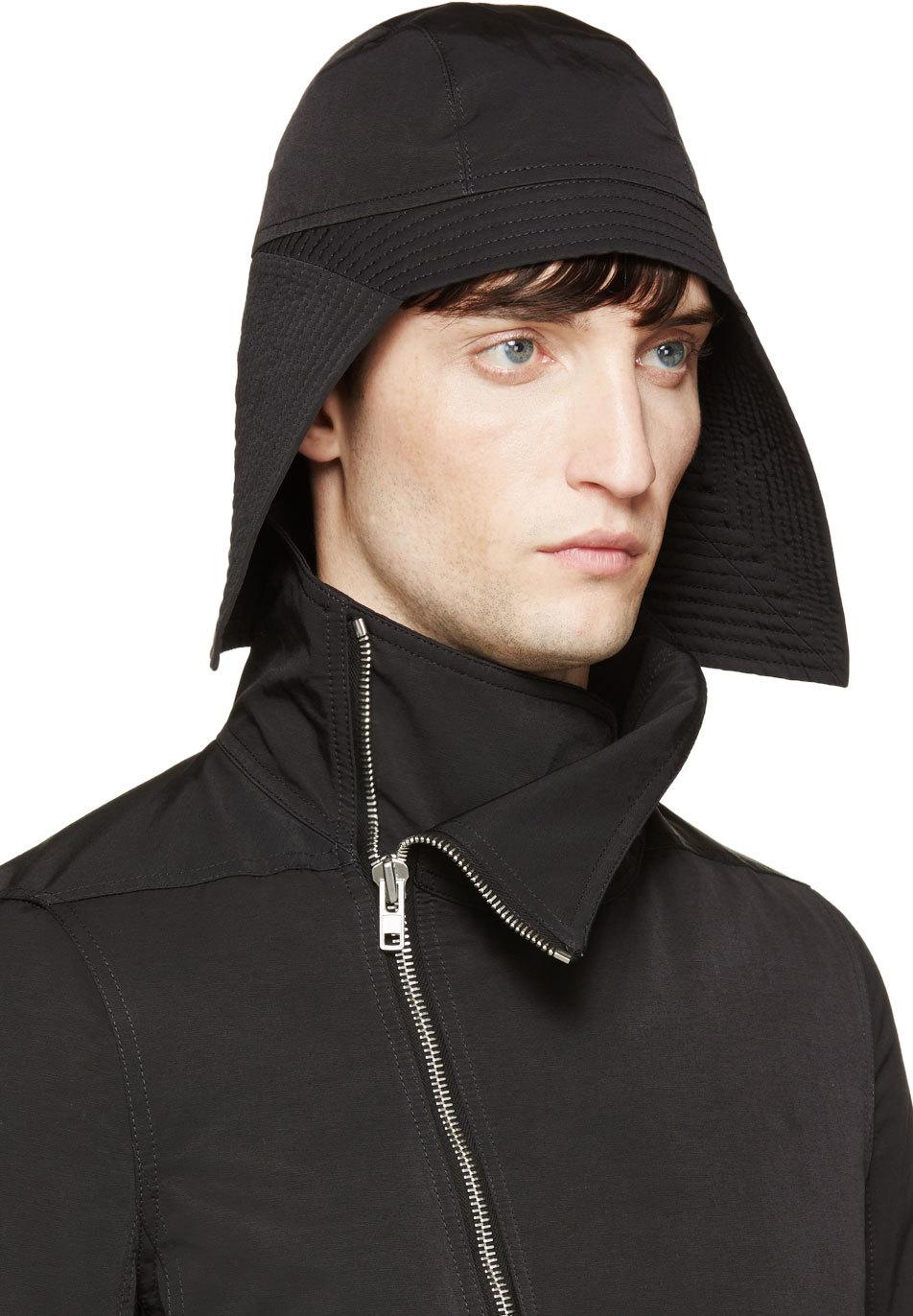 f74db5944ba Lyst - Rick Owens Black Kabuto Hat in Black for Men