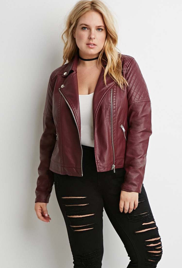 Forever 21 Plus Size Quilted Faux Leather Moto Jacket in Purple   Lyst