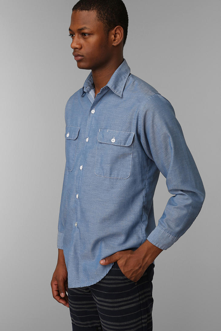 Lyst Urban outfitters Mens Vintage Painted Deer Chambray Shirt in Blue for Men