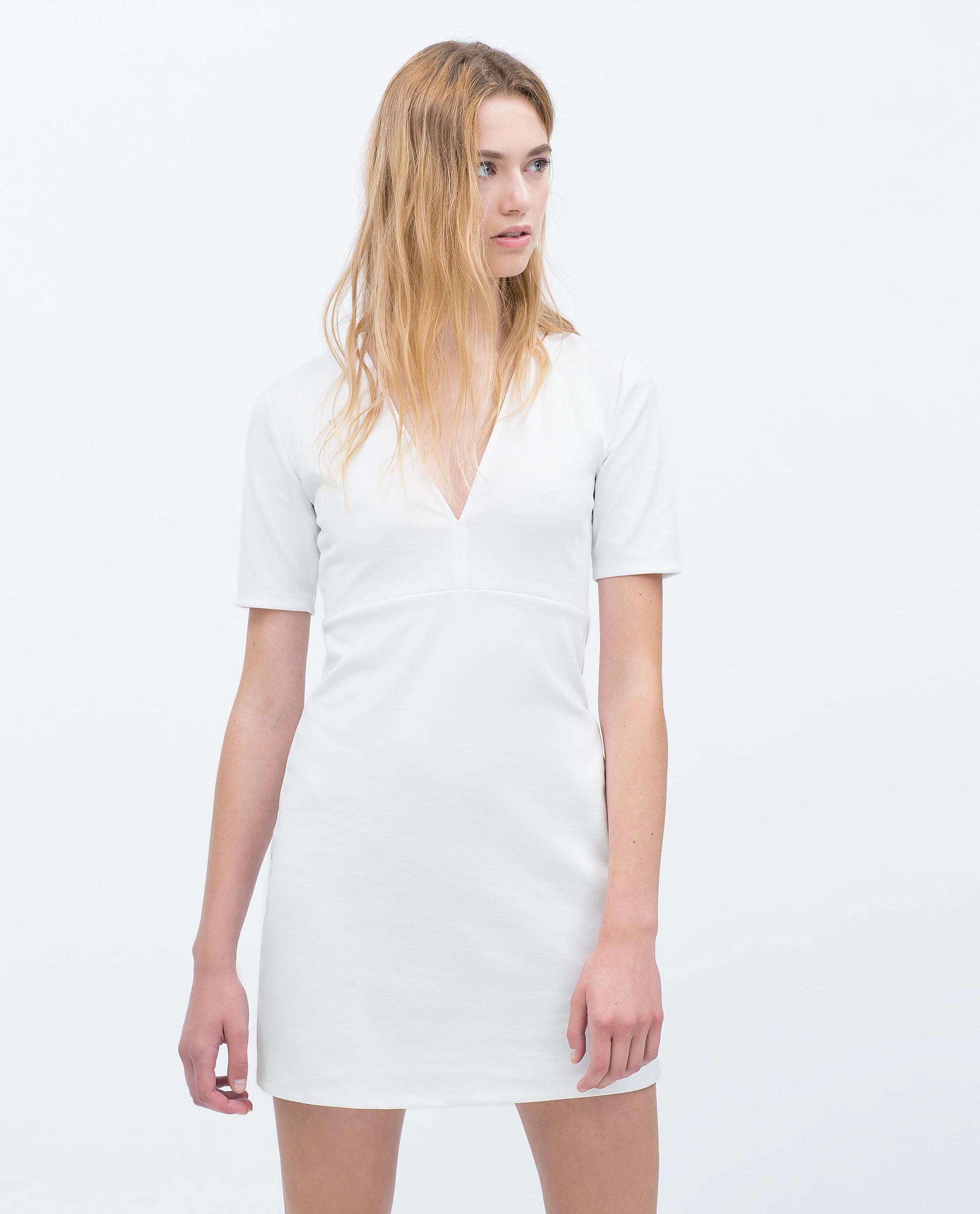 Zara V-Neck Dress in White   Lyst
