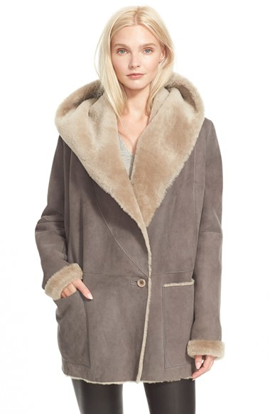 Vince Hooded Genuine Shearling Jacket in Gray | Lyst