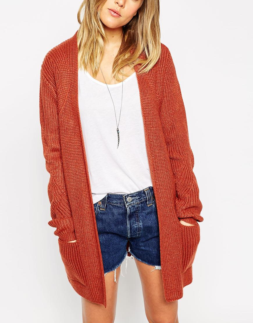 Asos Ultimate Chunky Cardigan in Brown | Lyst