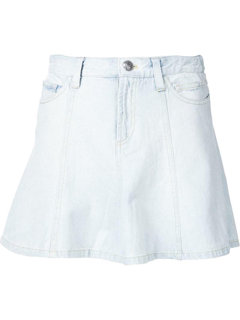 sea flared denim skirt in white lyst
