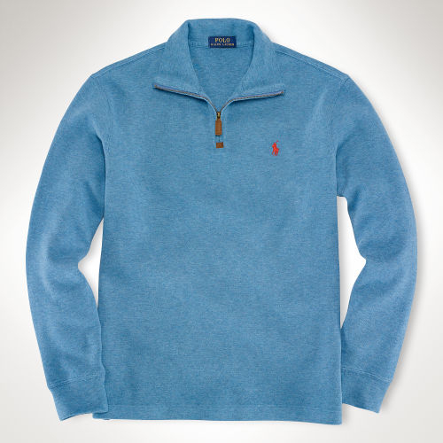 polo ralph lauren french rib half zip pullover in blue for. Black Bedroom Furniture Sets. Home Design Ideas