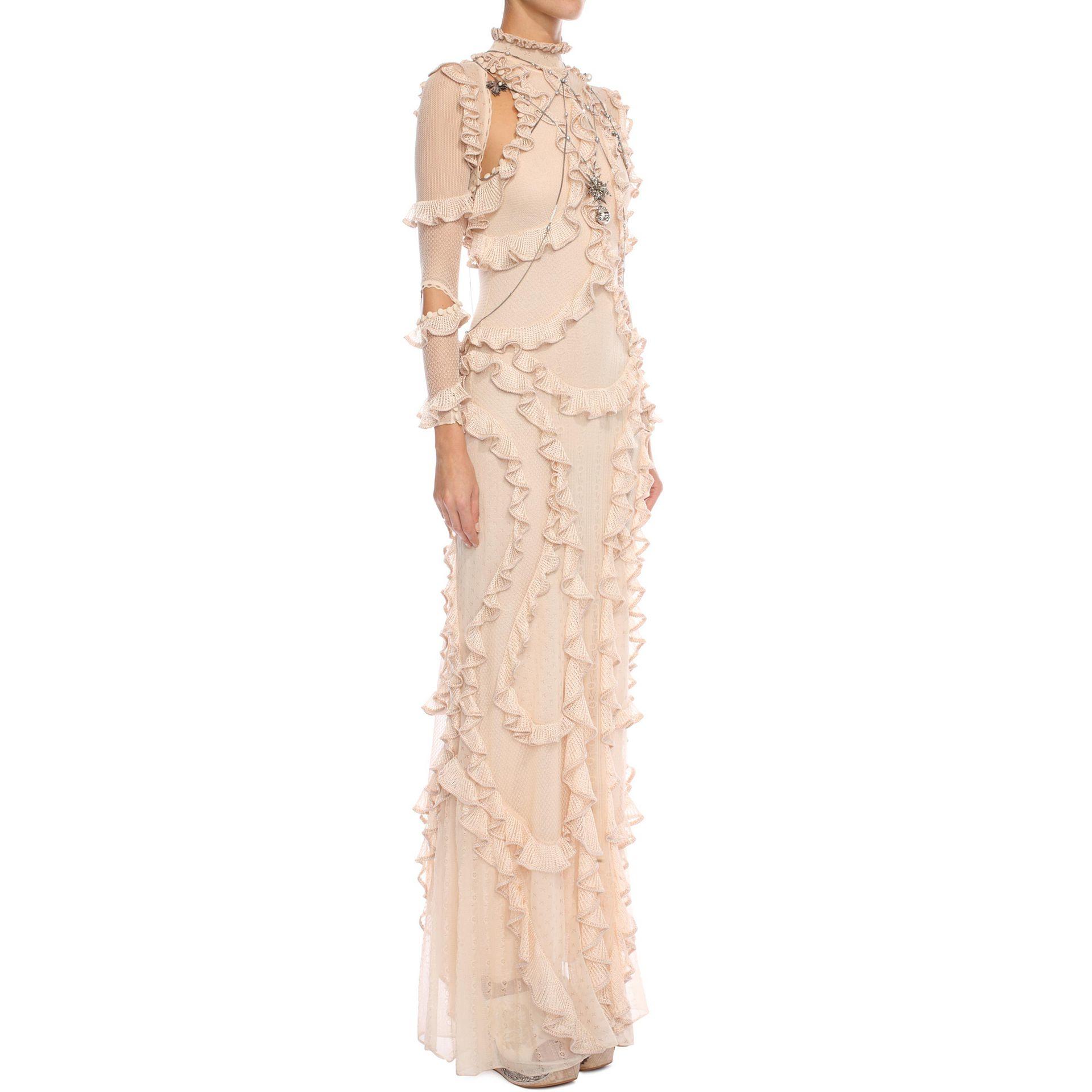 Alexander mcqueen 3 4 sleeve ruffle long dress in natural lyst