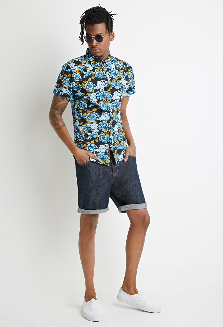 aec0b607ca6 Forever 21 Blue Ornate Floral Print Shirt for men
