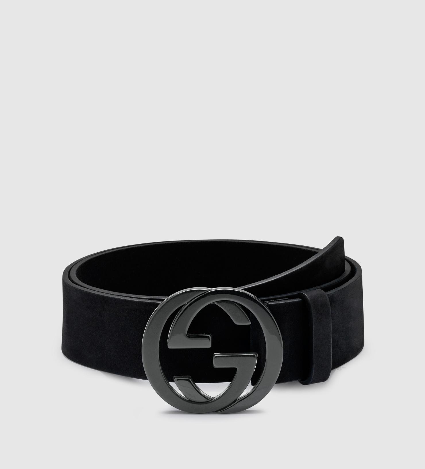 Gucci Black Suede Belt With Interlocking G Buckle for men