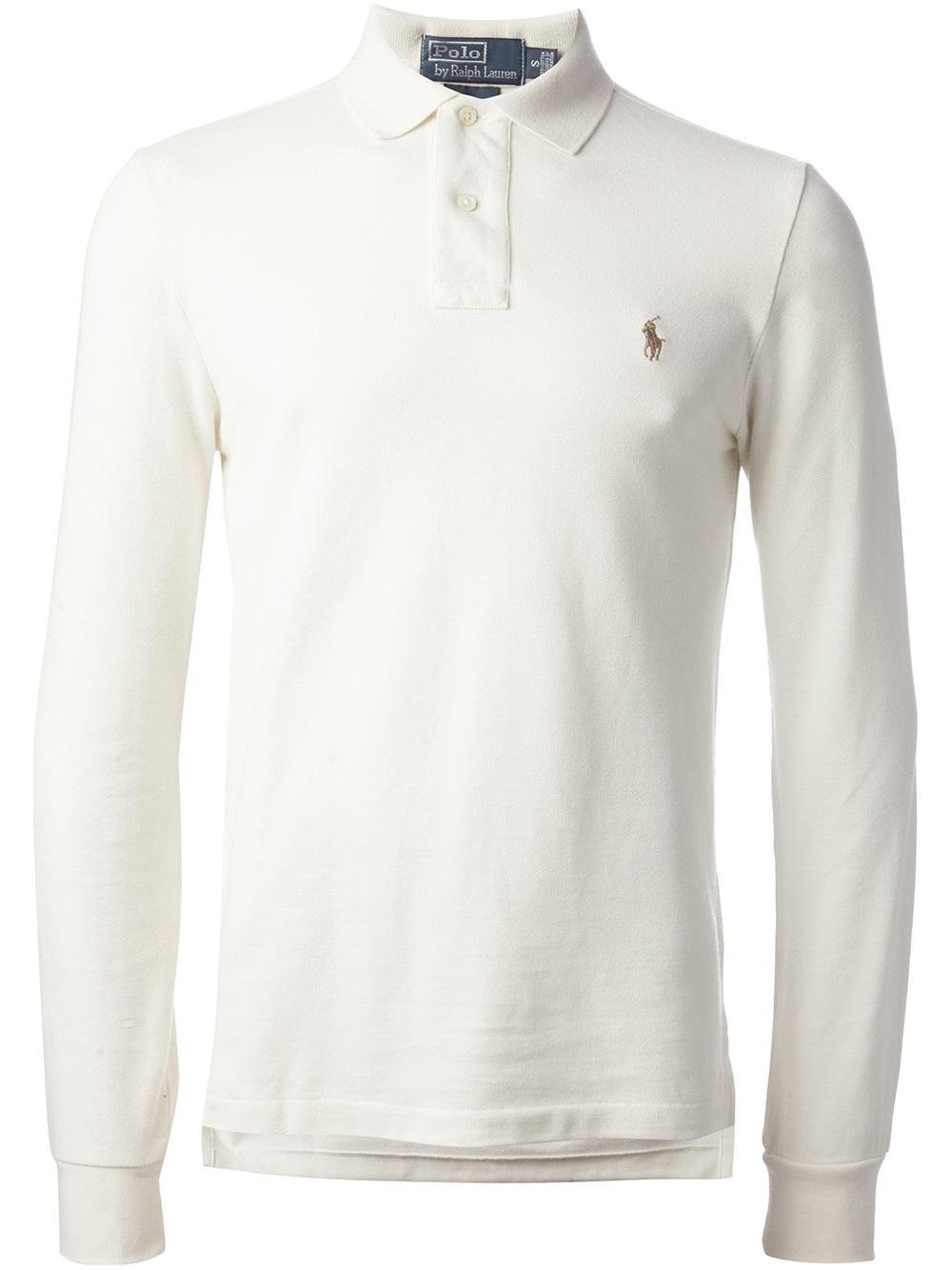 white long sleeve ralph lauren polo shirt