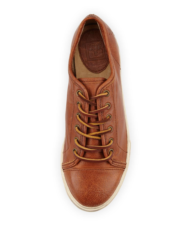 Frye Mindy Lowtop Leather Sneaker In Brown Lyst