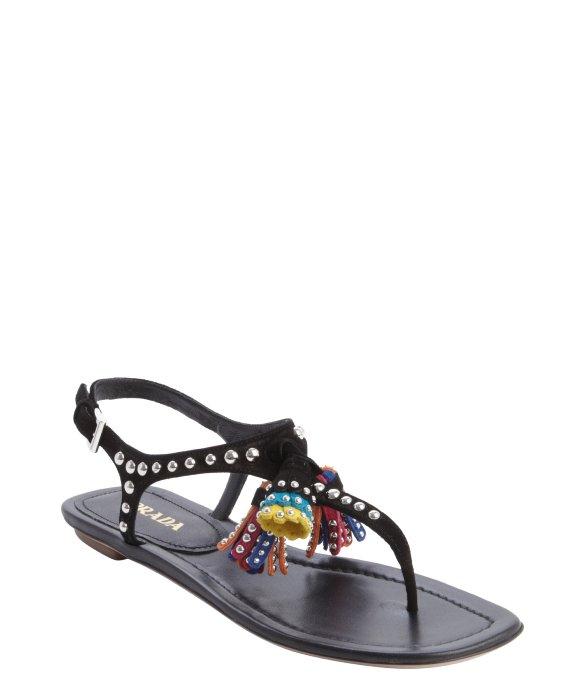 replica chanel woc - Prada Black Leather Studded Detail Multi-color Tassel Sandals in ...