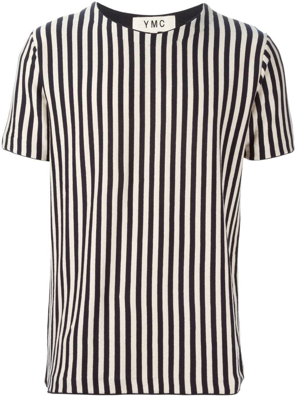 Lyst - Ymc Vertical Stripes T-Shirt in Blue for Men