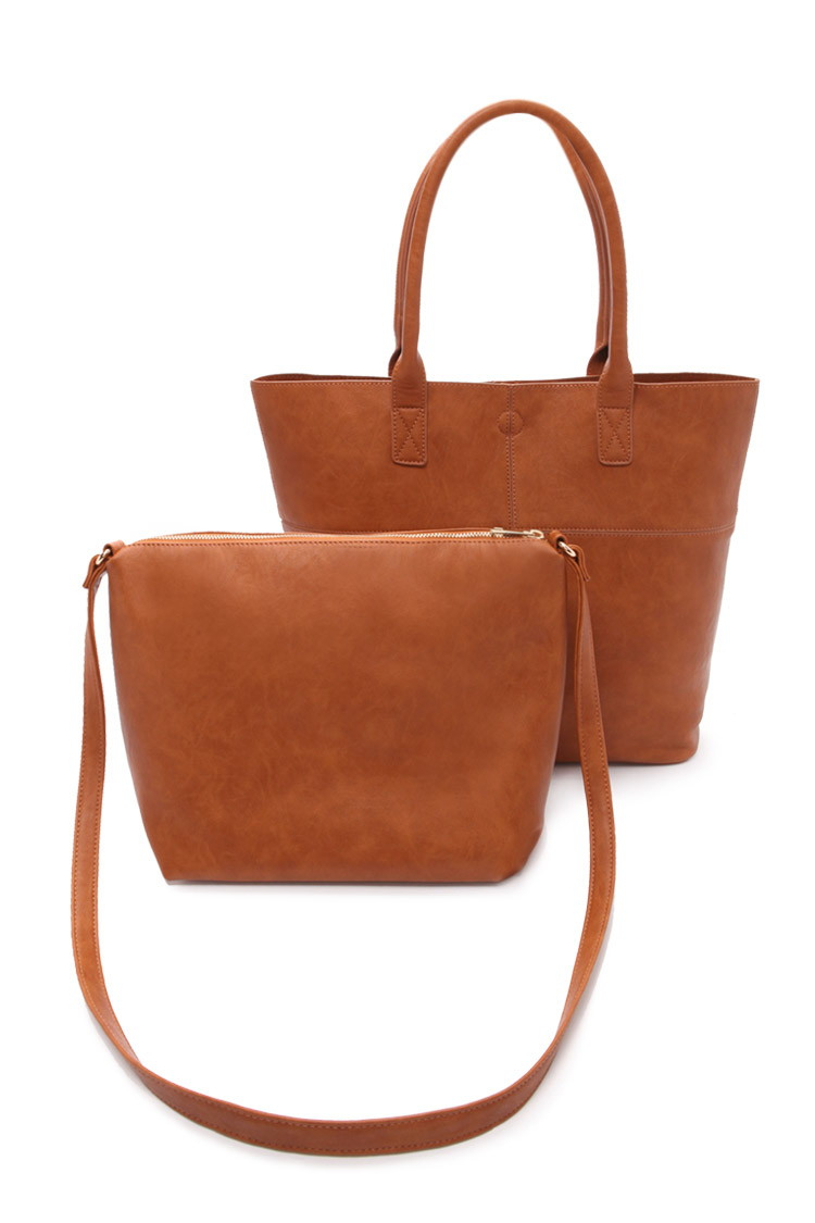 646e19d5e5b6 Lyst - Forever 21 2-in-1 Faux Leather Tote Bag in Brown