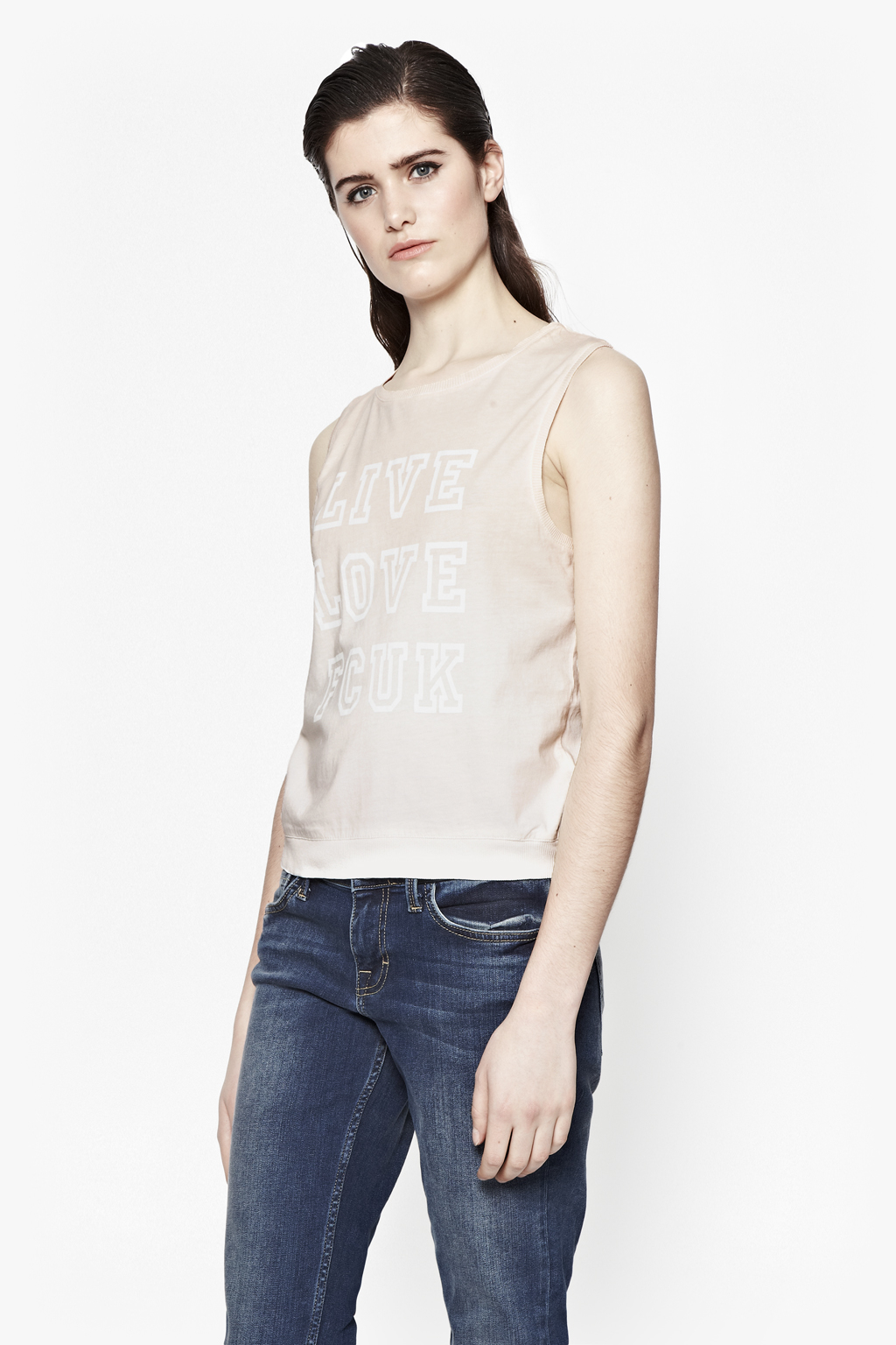 French connection live love sleeveless t shirt in natural for French connection t shirt dress