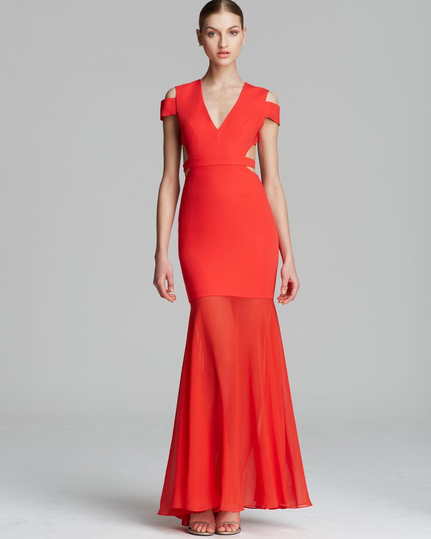 Lyst - Bcbgmaxazria Bcbg Max Azria Gown Ava Cutout in Red