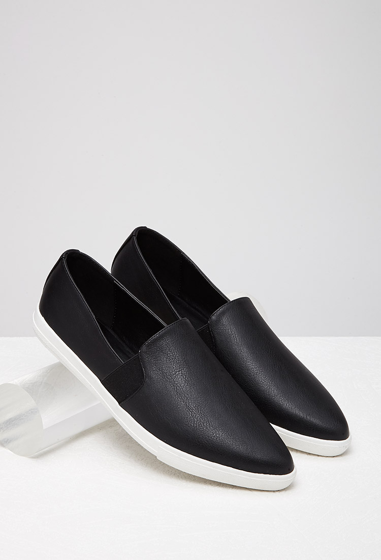Faux Leather Point Toe Stud Slip Ons BLACK vy Vu3zcw