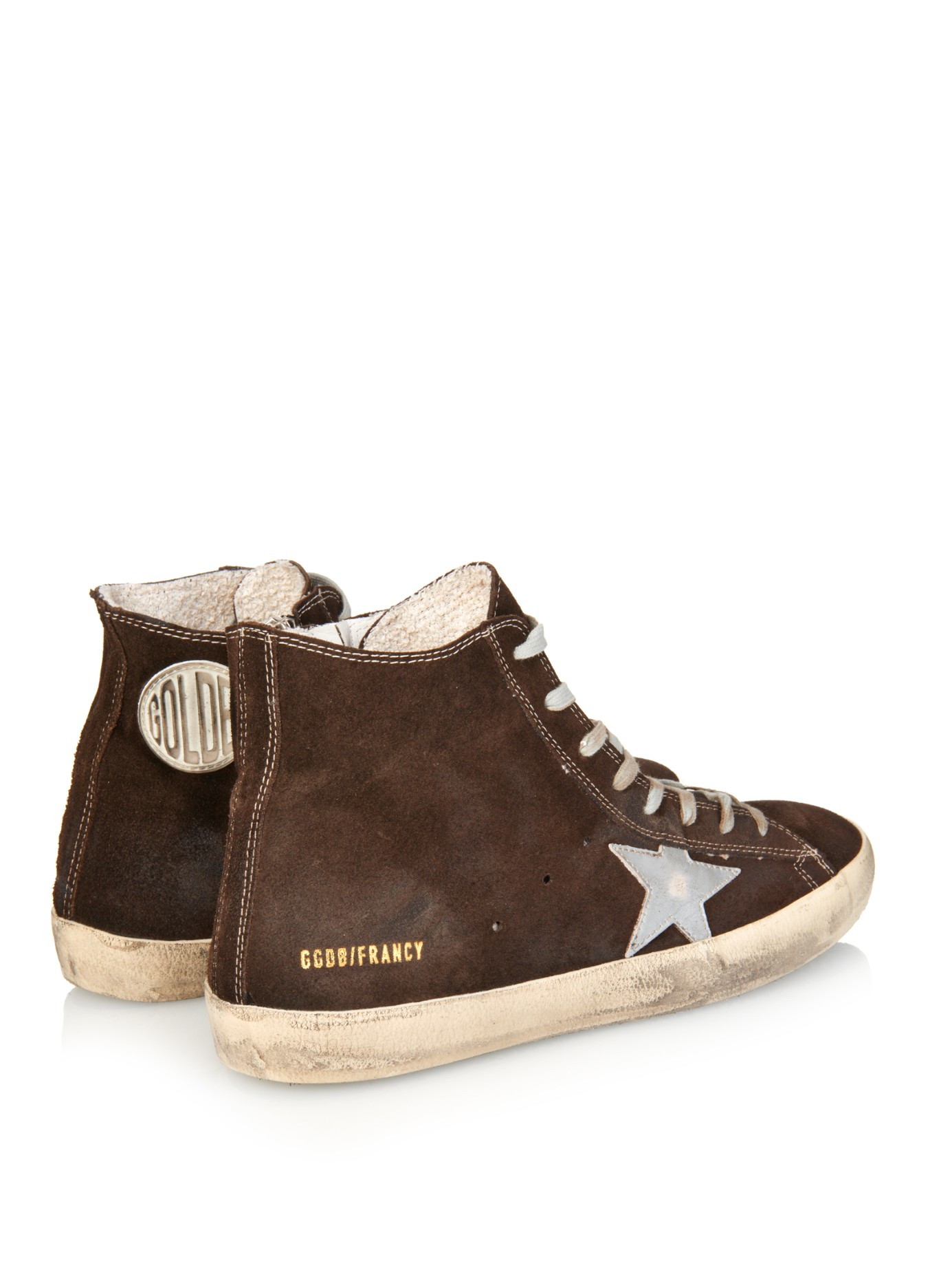 lyst golden goose deluxe brand suede and leather mid star sneakers in brown for men. Black Bedroom Furniture Sets. Home Design Ideas