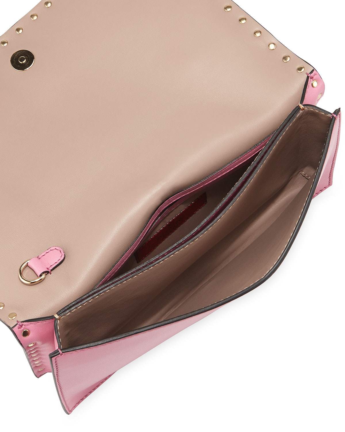 valentino rockstud flap wristlet clutch bag in pink