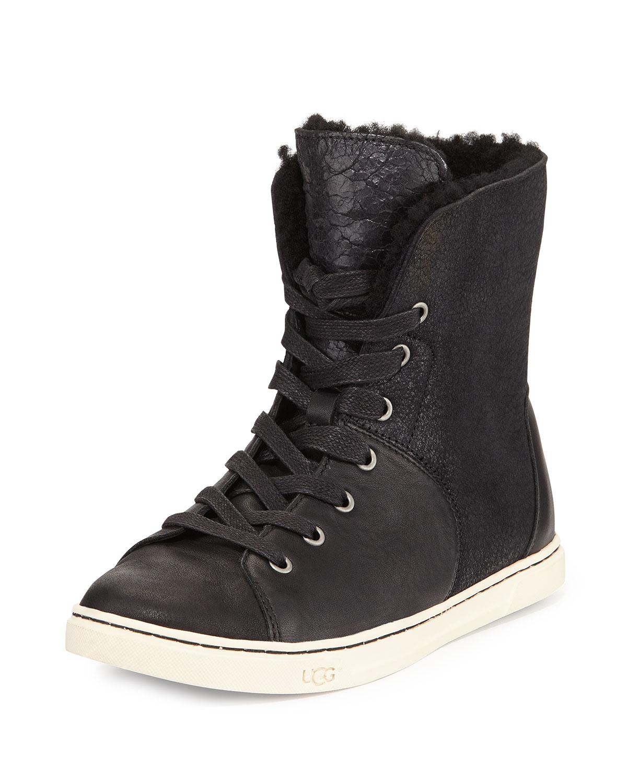 ugg croft fur lined high top sneakers in black lyst. Black Bedroom Furniture Sets. Home Design Ideas