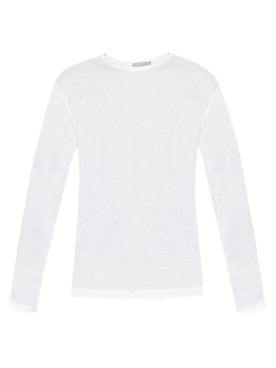 bcc434472144a2 Sunspel Long Sleeve Crew-Neck T-Shirt in White for Men - Lyst