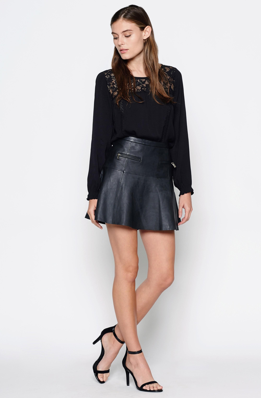 joie briza b leather skirt in black caviar lyst