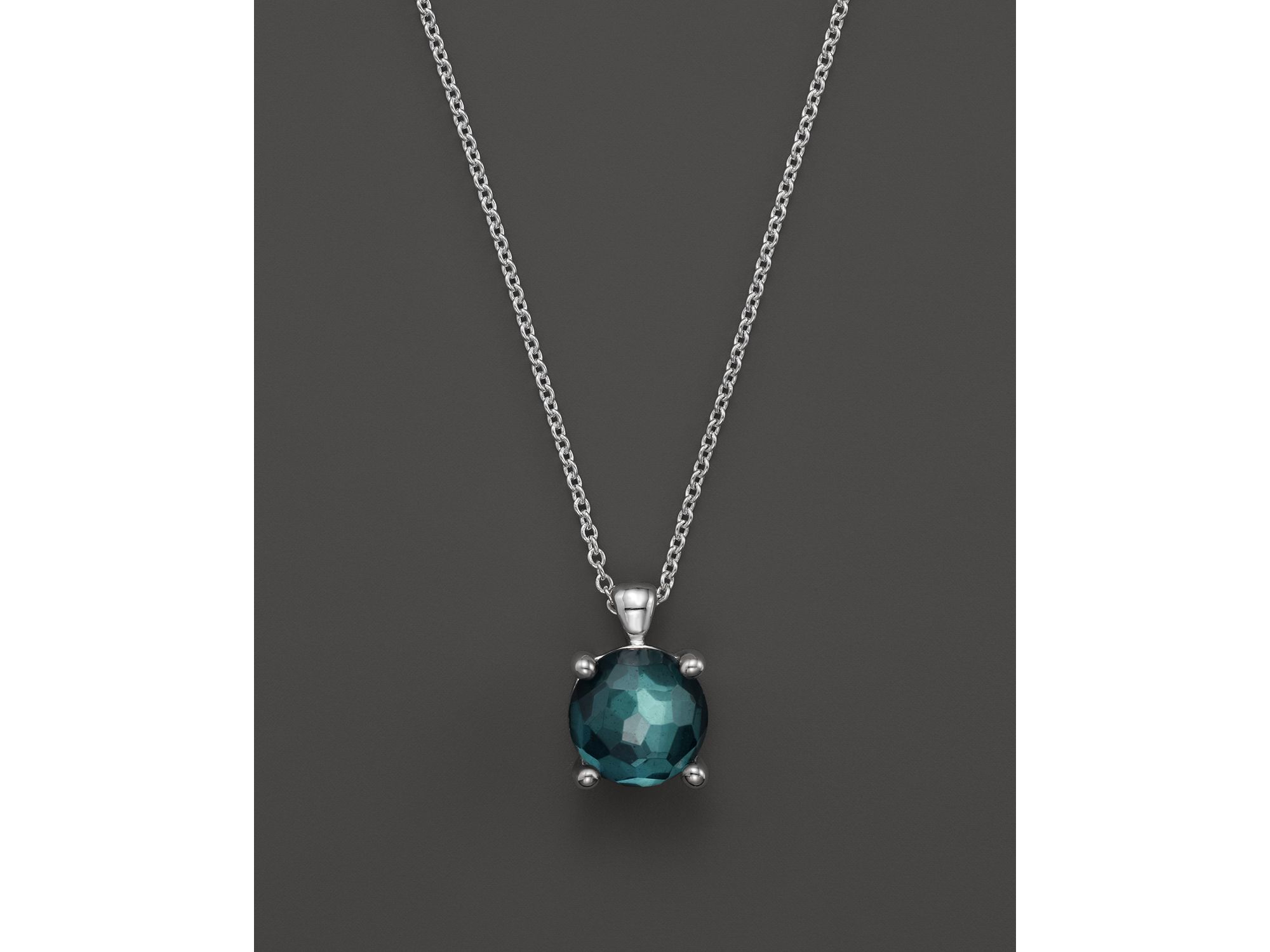 "Ippolita Rock Candy Sterling Silver Wonderland Single Stone Necklace In Pyrite Doublet, 16"" in Blue"