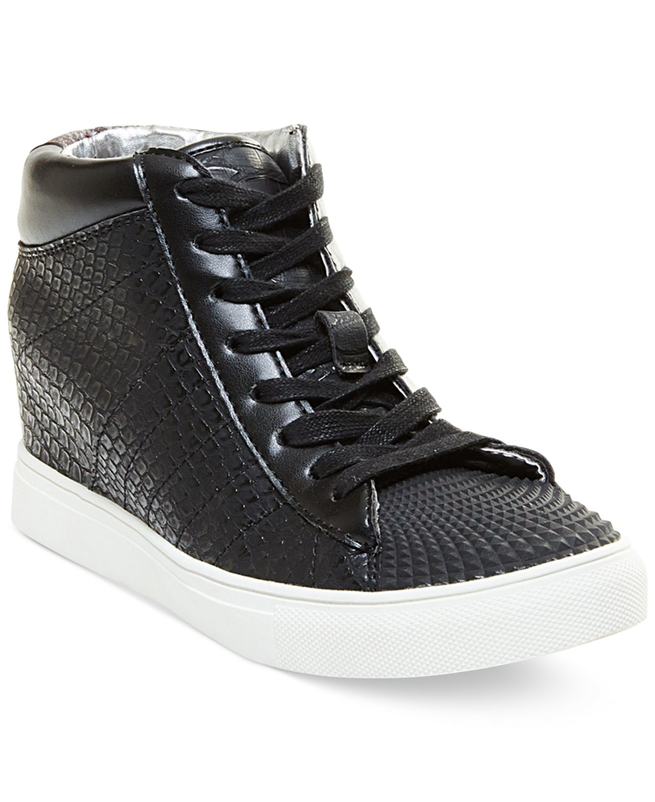 madden superstud lace up wedge high top sneakers in