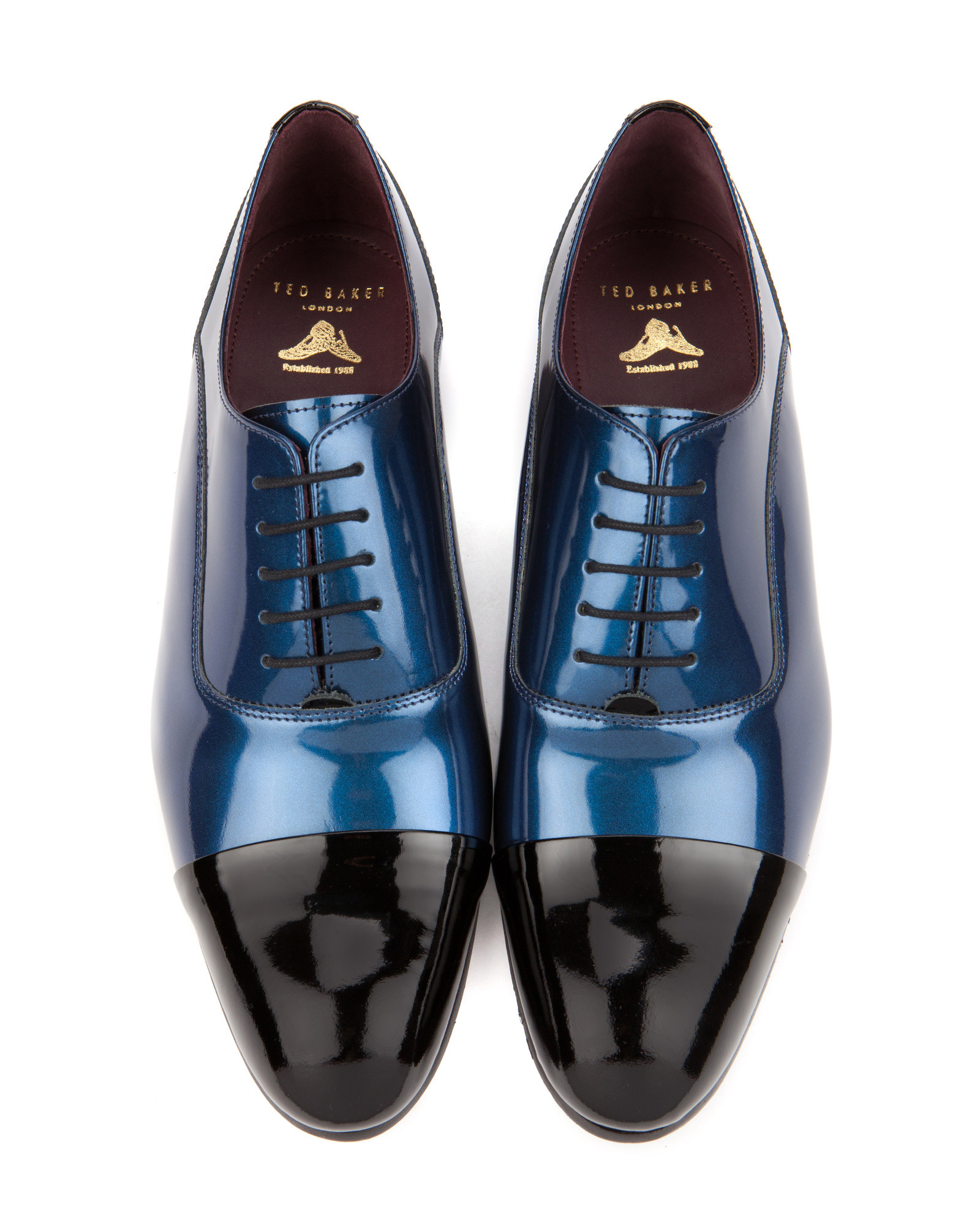 9e6cdf33eaf4 Ted Baker Patent Toe Cap Oxford Shoe in Blue for Men - Lyst