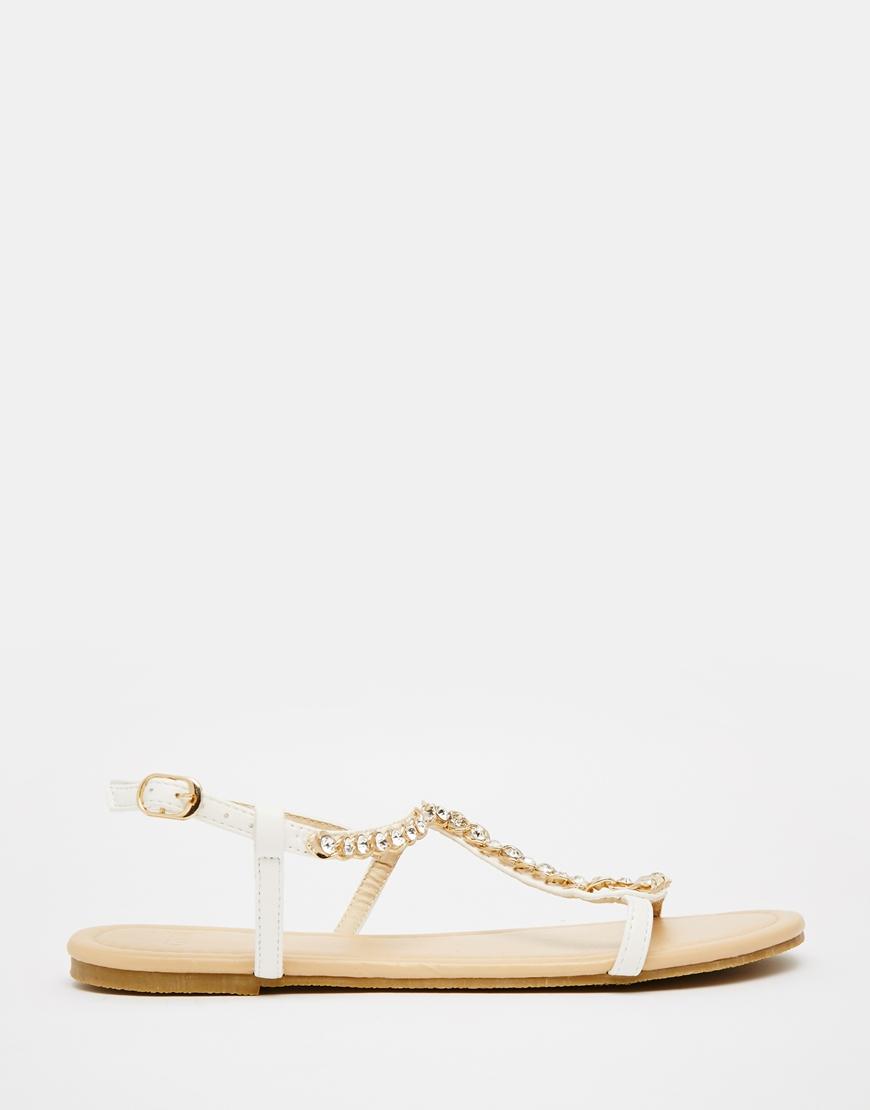 Asos Flirty Embellished Flat Sandals In Metallic | Lyst