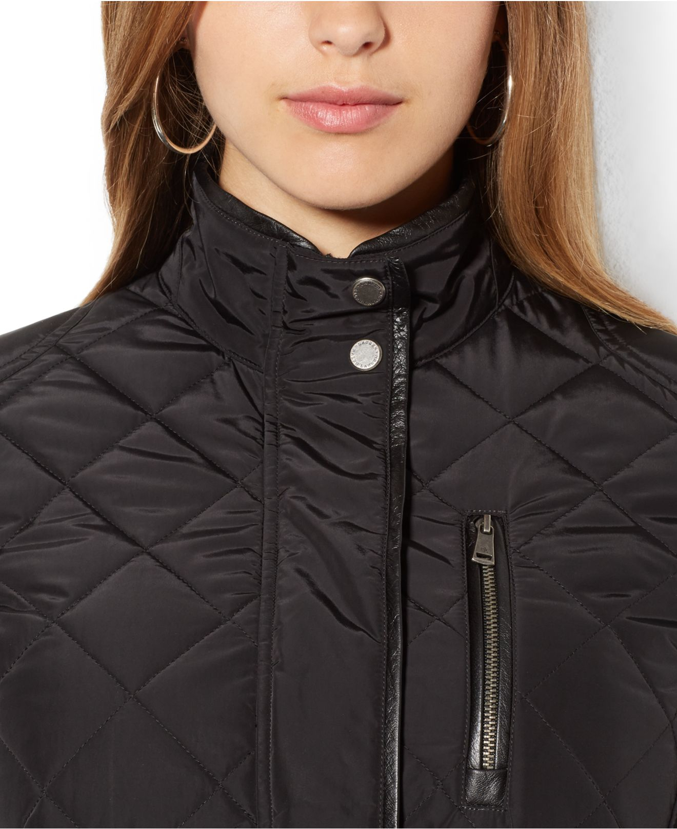 Plus Size Faux Leather Trim Quilted Utility Jacket