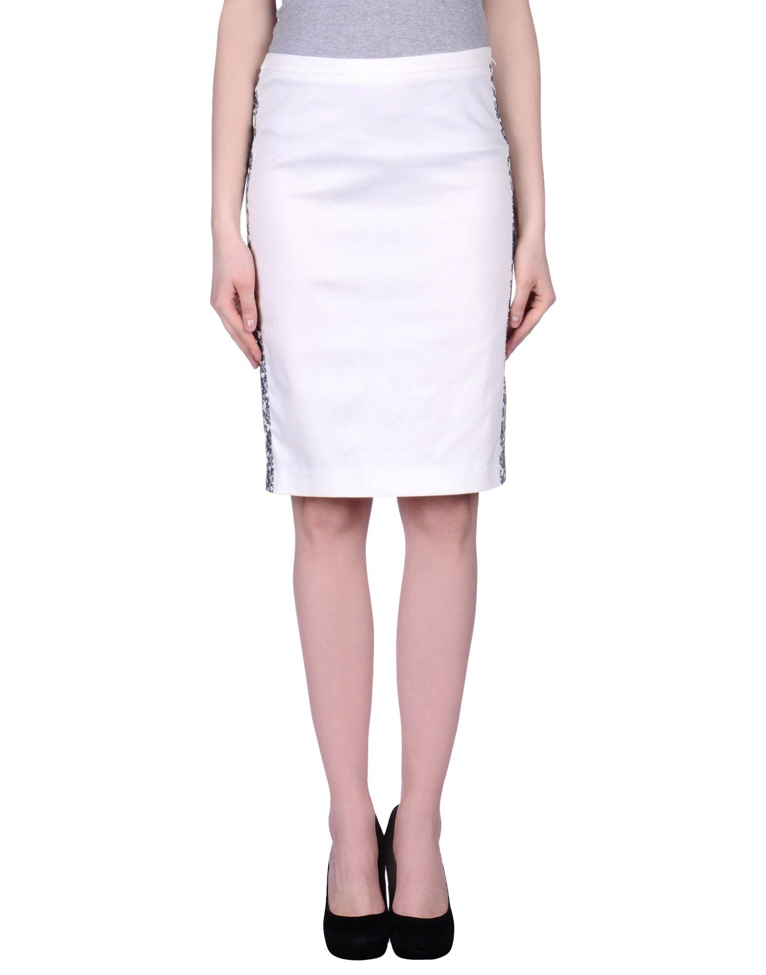 pianurastudio knee length skirt in white lyst