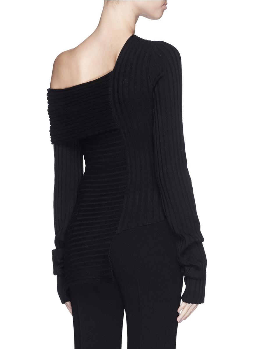 lyst ms min one shoulder wool blend sweater in black. Black Bedroom Furniture Sets. Home Design Ideas