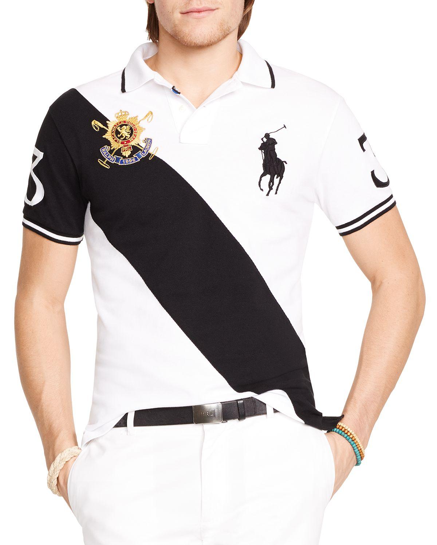 Polo Black Watch Custom-fit Banner-stripe Polo Shirt - Slim Fit